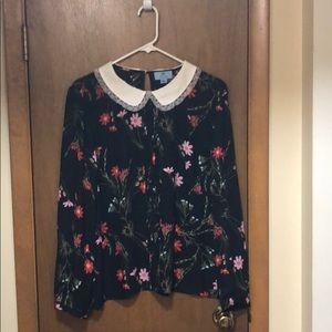 CeCe Black Floral blouse